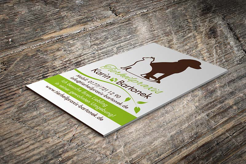 Visitenkarte für die Tierheilpraxis Bartonek aus Filderstadt bei Stuttgart. Gestaltung des grafischen Unternehmeauftritts von Iris Hachtroudian von eswirdeinmal.