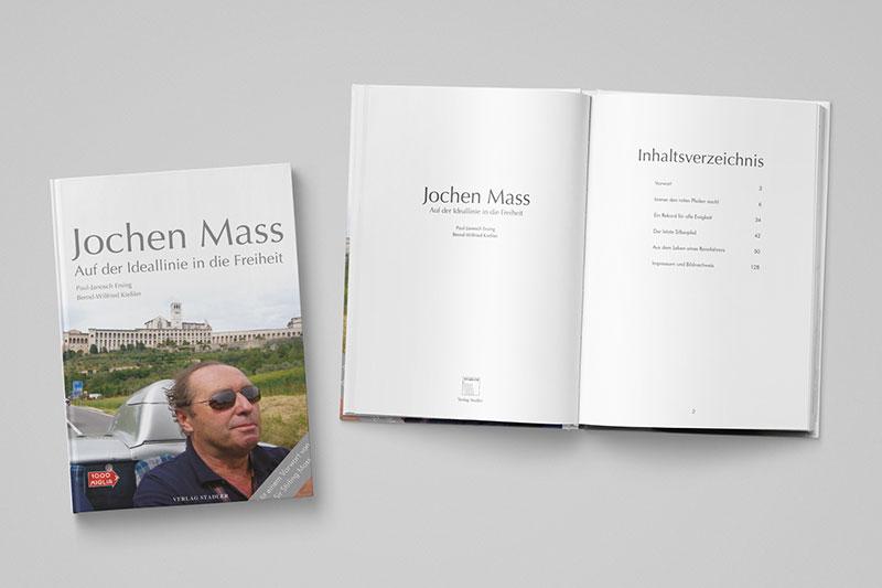 Gestaltung von Printmedien. Editorialdesign eines Buches über Jochen Mass und die Mille Miglia. Grafikdesign von Iris Hachtroudian aus Stuttgart.