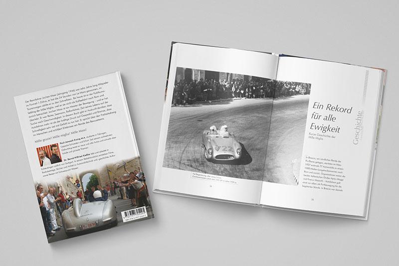 Grafische Buchinnengestaltung eines Rennfahrerportraits über Jochen Mass und die Mille Miglia. Gestaltet von Iris Hachtroudian in Zusammenarbeit mit dem Redaktionsbüro Kießler.