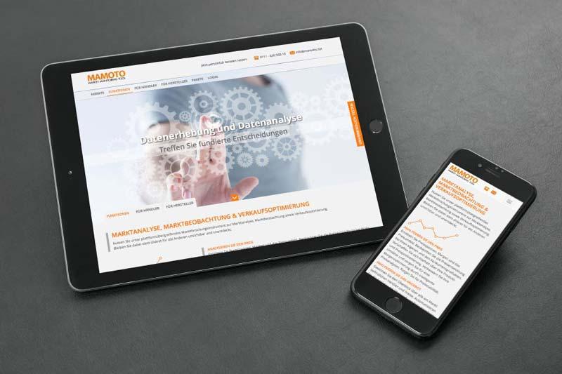 Webdesign und Text der Firma Mamoto.