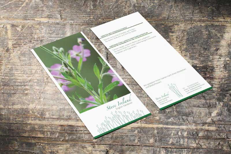 Flyergestaltung für englische Landschaftsgärtnerei